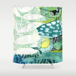 Bird and Leaf Mixed Media Collage Shower Curtain
