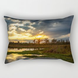 Down on the Bayou - Sunset Over Cypress Trees in Louisiana Swamp Rectangular Pillow