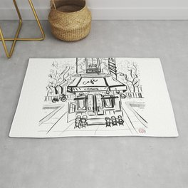Creperie Cafe in Autumn (Minimal Line Drawing) Rug