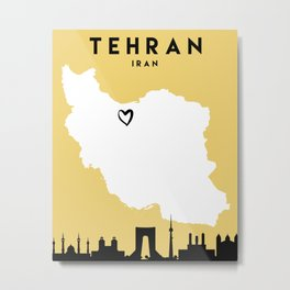 TEHRAN IRAN LOVE CITY SILHOUETTE SKYLINE ART Metal Print