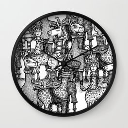 A Crowd of Llamas in Pajamas by dotsofpaint Wall Clock