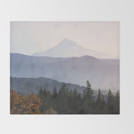 Mount Hood over the Columbia River Gorge Throw Blanket