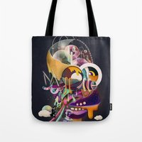 homer Tote Bags featuring HOMER ON ACID by Mathis Rekowski