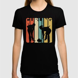 Retro 1970's Style Curlers Silhouette Curling T-shirt