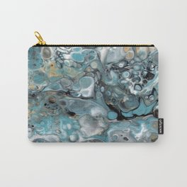 Turquoise White Gold Faux Marble Granite Carry-All Pouch