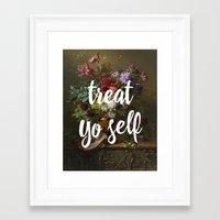 treat yo self Framed Art Prints featuring treat yo self by ecce