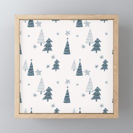Hand Drawn Winter Forest Framed Mini Art Print