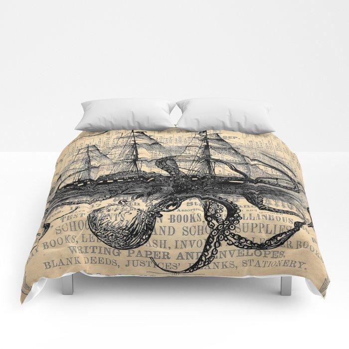 Octopus Kraken attacking Ship Antique Almanac Paper Comforters