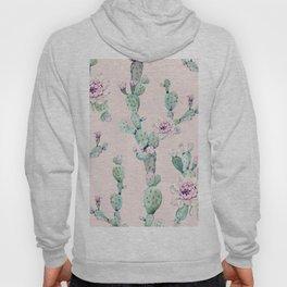 Cactus Rose Pattern on Pink Hoody