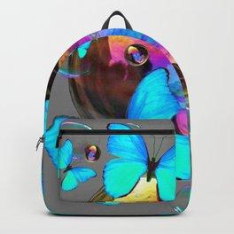 SURREAL NEON BLUE BUTTERFLIES  & SOAP BUBBLES GREY Backpack