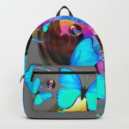 SURREAL NEON BLUE BUTTERFLIES  & SOAP BUBBLES GREY Backpack
