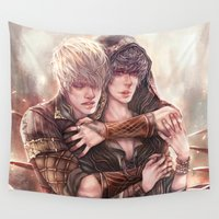 merlin Wall Tapestries featuring BBC Merlin: Embrace by delusionsINC
