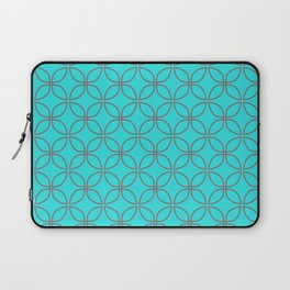 GUISE beautiful peacock blue with silver grey interlocking circles Laptop Sleeve