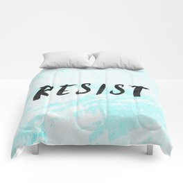 RESIST 5.0 - Black on Teal #resistance Comforters