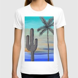 cactus and palm tree multi color desert sky T-shirt