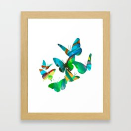 Green Butterflies Framed Art Print