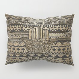 Native Pattern Golden Hamsa Hand Pillow Sham