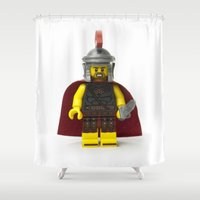 gladiator Shower Curtains featuring Roman gladiator Minifig by Jarod Pulo