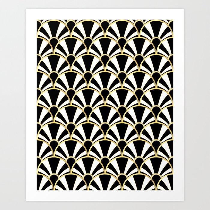 Black White And Gold Clic Art Deco Fan Pattern Print