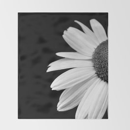 Half Daisy in Black and White Throw Blanket