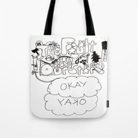 fault in our stars Tote Bags featuring The fault in our stars by Madwolf