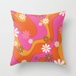 Groovy 60's and 70's Flower Power Pattern Throw Pillow