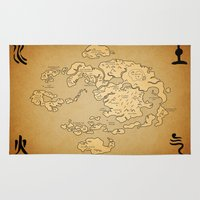 avatar the last airbender Area & Throw Rugs featuring Avatar Last Airbender Map by KewlZidane