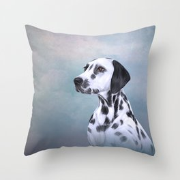 Drawing Dog Dalmatian Throw Pillow