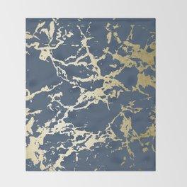 Kintsugi Ceramic Gold on Indigo Blue Throw Blanket