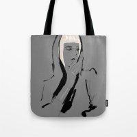 musa Tote Bags featuring Musa de Platino by RobGiordano4