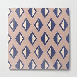 Diamond Pattern Beige and Blue Metal Print