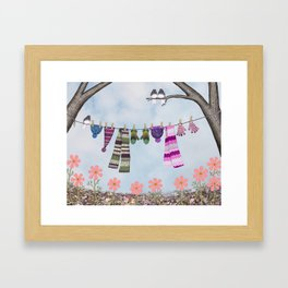 winter's over clothesline with juncos Framed Art Print