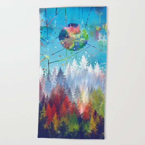 colorful forest 3 Beach Towel