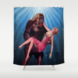 Gorilla and the Flapper, Vintage Sci-fi, Monsters Shower Curtain