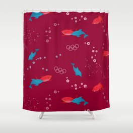 Red Shark and Dolphin Shower Curtain
