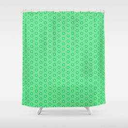 Fragmented Turquoise Mint Green Hexagons with Butter Cream Yellow Geometric Country Design Pattern Shower Curtain
