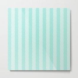 Tiffany Aqua Blue & White Two Tone Herringbone Pattern Metal Print