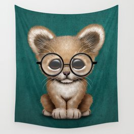 Cute Baby Lion Cub Wearing Glasses on Blue Wall Tapestry