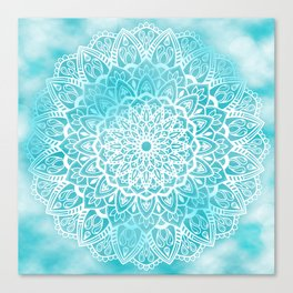 Blue Sky Mandala in Turquoise Blue and White Canvas Print