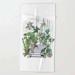 greenhouse illustration Beach Towel