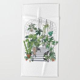 greenhouse illustration Beach Towel