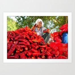 Turkish Woman Preparing Red Peppers Art Print