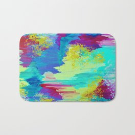SUGARY GOODNESS - Lovely Cotton Candy Sweet Dreams Colorful Rainbow Abstract Chevron Ikat Painting Bath Mat