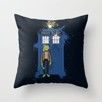 kermit Throw Pillows featuring Doctor Who Kermit by Roe Mesquita