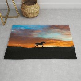 Beautiful Running Horse in a Southwestern Sunset Rug