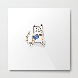 Working Cat Metal Print