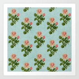 vintage rose - blue Art Print