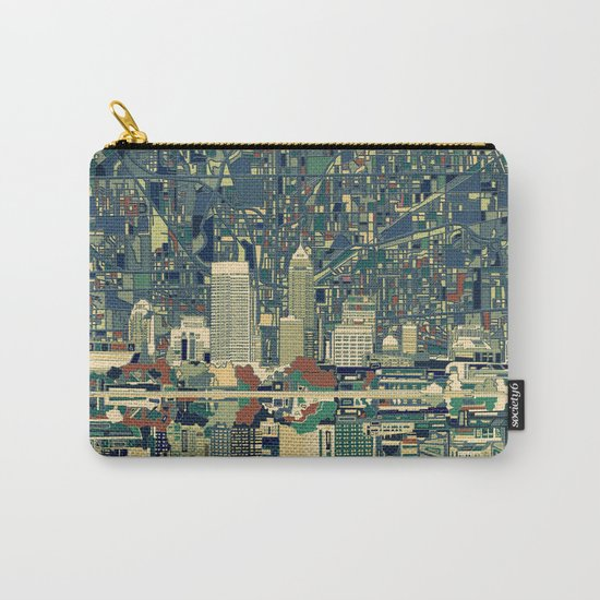 indianapolis city skyline green Carry-All Pouch