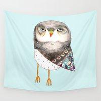owl Wall Tapestries featuring Owl by Ashley Percival by Ashley Percival illustration