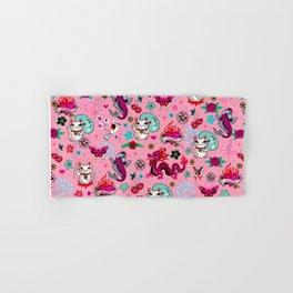 Lucky Cat Maneki Neko , Dragons and Koi fish On Pink Hand & Bath Towel